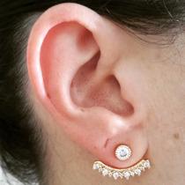 Brinco Ear Jacket Mini Zircônias - Folheado Ouro 18k