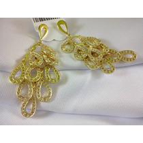 Brinco Folheado Ouro 18k Zirconia Brilhante Requintado Top
