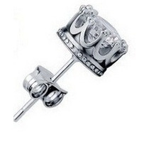 Brinco Masculino 8mm Zircônia Prata 925