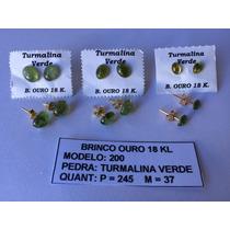 Semijóias - Brinco Com Pedra Turmalina Verde