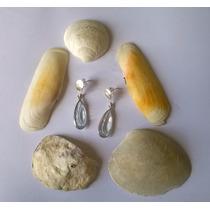 Brincos De Prata 950 K Com Pedra Natural Água Marinha