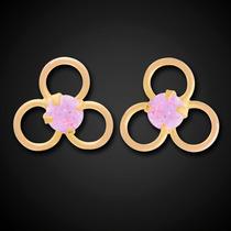 Brinco Três Círculos Com Pedra Rosa 2mm Em Ouro 18k - 750