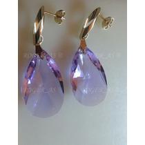 Brinco Gota Cristal Swarovski Violet Folheado A Ouro 18k