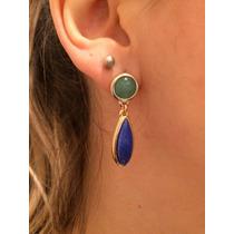 Brinco Pedra Natural Quartzo Verde E Azul Semi Joia
