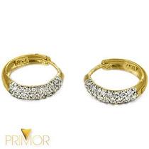 Brinco Em Ouro Amarelo Argola Com 16 Diamantes E Ródio Br012