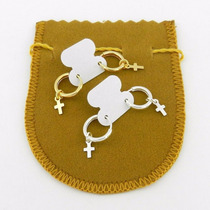 Brinco Masculino 10mm (2pares) Folheado Ouro E Prata Br252