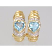 Boqueiraojoias Brinco De Ouro 18k Com 8 Diamantes 2 Topazio