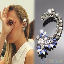 Lindo Brinco Ear Cuff Prateado Azul Cristais Strass