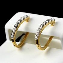 Brinco Argola Oval Em Ouro 18k E Diamantes Frete Gráti