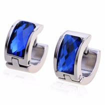 Brinco Masculino Argola Aço Cristal Austríaco Azul