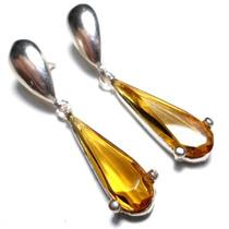 Jpf-brincos Prata 925 Zirconia Amarela Tom Citrino