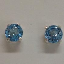 Brinco Solitario De Prata Com 2 Pedras Topazio Azul De 5mm
