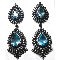 Jbo- Brincos Prata 925 Cristal Topazio Zirconias Rodio Negro