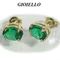 Brincos Folhado Ouro 18k Cristal Cor Esmeralda Oval 3039/1