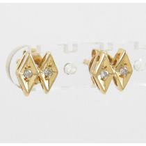 Esfinge Jóias - Brinco Design Diamantes Ouro Amarelo 18k 750