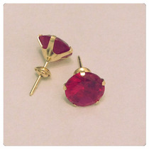 Brincos Pedra Vermelho Rubi 8mm Delicada Joia Ouro 18k Certi