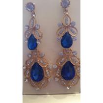 Lindo Maxxi Brinco Dourado Pedras Cristais Azul Festa Noiva
