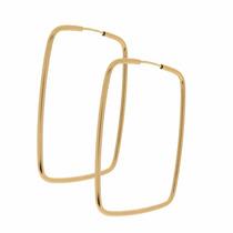 Brinco Ouro 18k Argola Retângulo - Fio Redondo