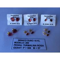 Semijóias - Brinco Com Pedra Turmalina Rosa