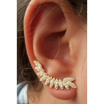 Brinco Ear Cuff Folhas-folhagem Dourado. Semi Joia Ouro 18k