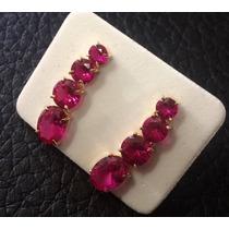 Brinco Ear Cuff Com Pedras Pedras Zirconias Ouro 18k