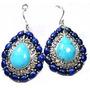 Hce-brincos India Prata 925 Lapis Lazuli Turquesa Frete 1,00