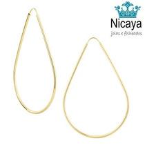 Nicaya Brinco Argola Gota Em Ouro 18k-750