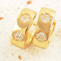 Delicadas Argolinha Em Ouro Plated 24k Amarelo E Swarovski