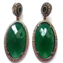 Brf-brincos Turquia-turco Prata 925-esmeralda-jade-topazios