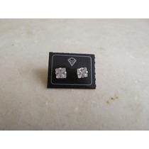 Brinco Zircônia Quadrado 5mm Em Prata 950