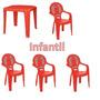 Conjunto Mesa +4 Cadeira Infantil C/apoio Braço Cor Vermelha