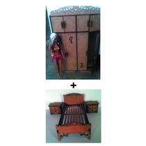 Kit Guarda-roupas+cama+ 2criadomudo Mdf Barbie/ Monster High