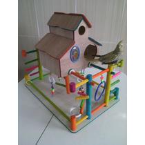 Brinquedo Playground Em Madeira Para Calopsita Casa Grande