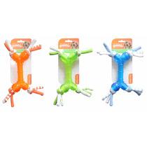 Brinquedo Mordedor Borracha Ossinho Com Corda Pet Shop Cores