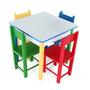 Mesa Infantil Com 4 Cadeiras De Madeira E Mdf 5017 Carlu