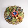 Especial Broche Vintage Floral Pedras Feito Mão França
