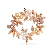 Bling Jewelry Rosa Golden Pearl Grinalda Do Natal Pin Nupcia
