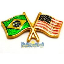 Pin / Bótom / Broche / Bandeira Brasil X Estados Unidos Eua