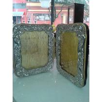 Porta Retrato Duplo Em Metal Cromado E Madeira