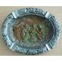 A5593 Antigo Prato Em Ferro, Com Acabamento Em Bronze E Níqu