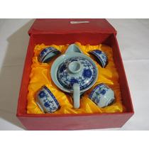 Jogo De Cha Ou Saquê - Japones Em Porcelana ( Com Caixa )