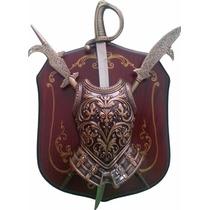 Escudo Medieval Brasao Espada Com Suporte 4 Modelos
