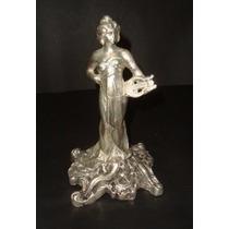 Estatua Escultura Em Bronze Espessurada A Prata Art Nouveau