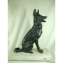 Escultura Em Bronze Figura De Cachorro Assinada Antiga