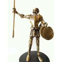 Dom Quixote Grande Em Bronze Base Madeira Estatueta Heroi