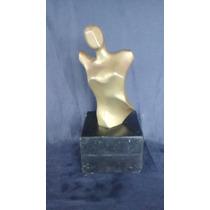 Escultura Estatua Busto Feminino De Bronze Base De Mármore