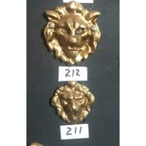 Leoes Apliques Bronze Maciço Ref 212. P. Moveis Antigos