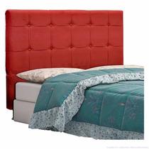 Cabeceira Painel Cama Box Casal 1,60m Quarto Suede Vermelho