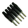 Kit De Conectores Plug P10 6,35mm Mono Preto (5 Pçs)