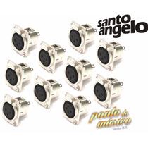 Kit 12 Conectores Plug Xlr Painel Femea Santo Angelo L O J A